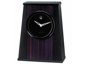 Bulova B5003  Oblique Aluminum Table Top Black Dial Black Clock