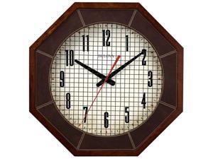 Bulova C4376 Gymnasium Large Solid Hardwood Case White Dial Brown Wall Clock