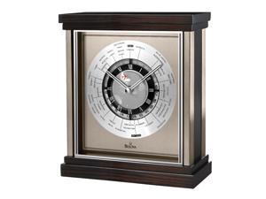 Bulova B2258 Wyndmere World Time Zebra Hardwood Case Silver Dial Wood Tabletop Clock