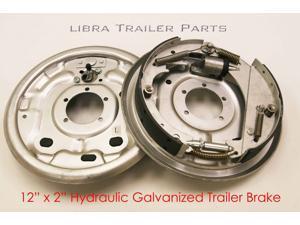 "(1) New 12"" x 2"" Hydraulic Marine Trailer Brake Assembly Pair Set - 21020"