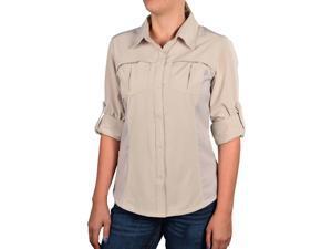 Columbia Women's Arrowhead Trail Stretch Long Sleeve Shirt-Beige-Medium