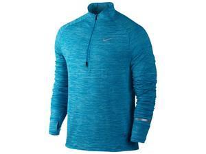 Nike Men's Dri-Fit Element Sphere 1/2 Zip Running Shirt-Imperial Blue/Heather-XL