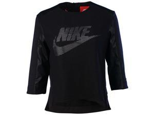 Nike Women's Sport Casual Perforated Crew Top-Black/White-Small