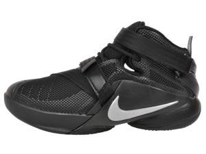 Nike Youth LeBron Soldier 9 IX Basketball Shoes-Black/Metallic Silver-6.5