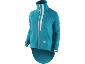 Nike Women's Tech Fleece Moto Cape Jacket-Turquoise/Volt-Small