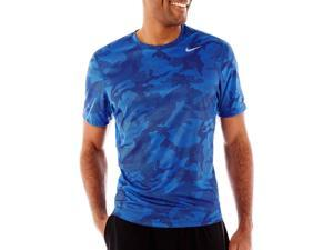 Nike Men's Dri-Fit Sublimated Camo Running Shirt-Blue-Small