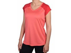 Nike Women's Dri-Fit Miler V-Neck Running Shirt--Light Red-Large
