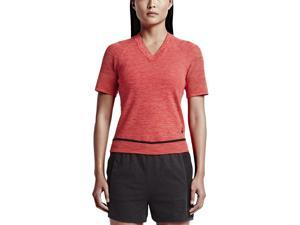 Nike Women's Tech Knit Sport Casual V-Neck Top-University Red/Bright Crimson-XS