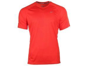 Nike Men's Dri-Fit Printed Miler Running Shirt-Red-Small