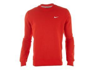 Nike Men's Classic Club Fleece Crew Sweatshirt-Red/White-Large