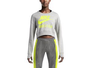 Nike Women's Track & Field Crew Crop Sweatshirt-Grey/Volt-Large
