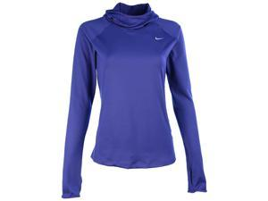Nike Women's Dri-Fit Element Running Hoodie-Blue-Small