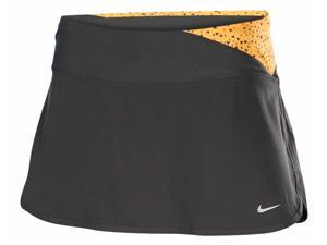 Nike Women's Printed Twisty Running Skirt With Built In Briefs-Grey/Mango-XS