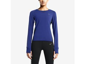 Nike Women's Dri-Fit Sprint Crew Running Shirt-Deep Royal Blue/Obsidian-Medium