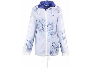 Adidas Originals Women's London Printed Windbreaker Jacket-White/Blue-Large