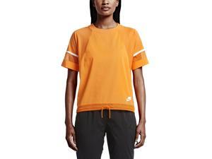 Nike Women's Bonded Sport Casual T-Shirt-Vivid Orange-Large