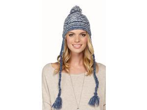 Roxy Juniors Harvest Beanie Hat Cap-Blue/White