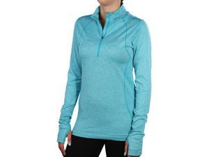 Nike Women's Dri-Fit Knit Half Zip Running Shirt-Jade-Large