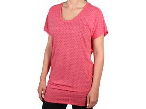 Nike Women's Dri-Fit Club Boyfriend Dot Training Shirt-Brick Red-Large