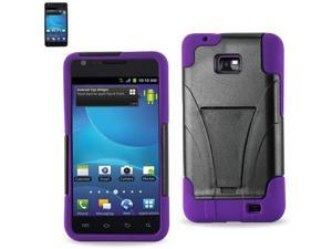 Silicon Case+Protector Cover For Samsung GALAXY SII I777 NEW TYPE KICKSTAND PURPLE BLACK