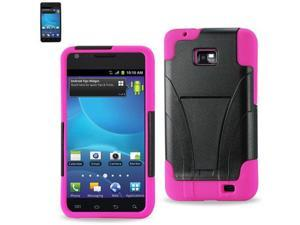 Silicon Case+Protector Cover For Samsung GALAXY SII I777 NEW TYPE KICKSTAND HOT PINK BLACK