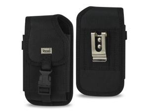 VERTICAL RUGGED POUCH SAMSUNG NOTE I9220/ N7000 PLUS-BLACK WITH BUCKLE CLIP INNER SIZE: 6.18X3.67X0.78INCH