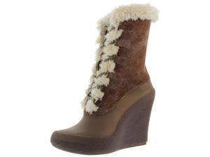 Ccilu Suzi Women's Leather Snow Muk Luks Wedge Booties Boots
