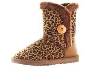 Moda Essentials Short Button Women's Faux Sheepskin Boots