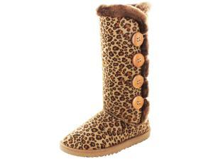 Moda Essentials Tall Button Women Faux Sheepskin Winter Boot