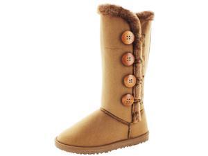 Moda Essentials Tall Button Women Faux Sheepskin Winter Boot