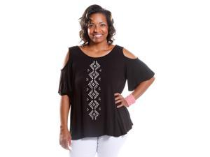 Hadari Women's Plus Size Cold Shoulder Tee with Studs