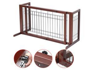 Yaheetech Adjustable Indoor Solid Wood Construction Pet Fence Gate Free Standing Dog Gate