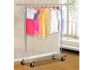 Yaheetech 250LBS Heavy Duty Commercial Clothing Garment Rolling Collapsible Rack Chrome US