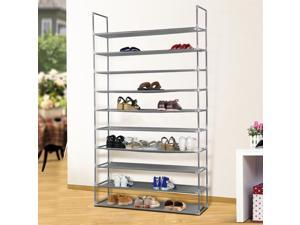 Yaheetech 10 Tier 50 Pairs Free Standing Shoe Rack Space Saving Organizer Shelf Storage US