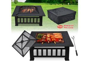 "Yaheetech Outdoor 32"" 3in1 Outdoor Metal Firepit Backyard Patio Heater Garden BBQ Grill Brazier Square Stove Fire Pit & Dust Protective Cover"