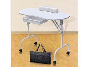 Yaheetech Portable & Foldable Collapsible Manicure Table Nail Art Desk Workstation Pull Out Drawer + Carry Bag + Wrist Rest