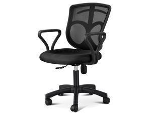 Yaheetech Black Executive Ergonomic Mesh Computer Office Desk Midback Chair with Arms Fabric Mesh Seat Backrest