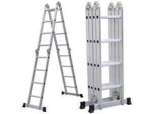 Yaheetech 15.5FT Step Platform Multi Purpose Aluminum Folding Step Platform Scaffold Ladder 330LB
