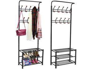Yaheetech Metal Multi-purpose Entryway Storage Coat Clothes Stand Shoes Rack Umbrella Hat Bag Stand Rack With Hanging Hooks Black