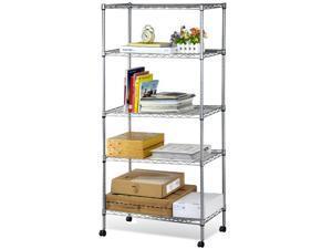 Yaheetech 5 Shelf Chrome Steel Wire Shelving 30 by 14 by 59-Inch Storage Rack Home Organizer W/Wheels