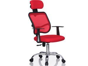 Yaheetech New Mesh Swivel Back Office Ergonomic Computer Chair w/ Adjustable Head Rest[Red,Mesh chair]