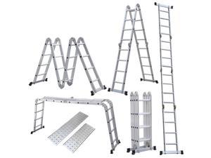 15.5ft 4.7M Multi Folding Telescopic Aluminium Ladder Extendable Scaffold Fold EN131 330lb Weight