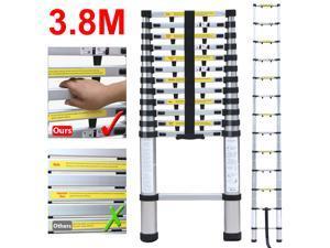 Yaheetech 12.5' Tall Portable Aluminum Telescopic/Telescoping Loft Multi Purpose Ladder Extension