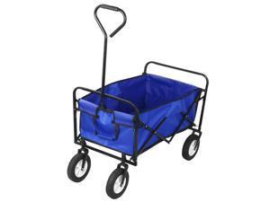 Yaheetech Collapsible Folding Utility Wagon Garden Cart Shopping Cart - Blue