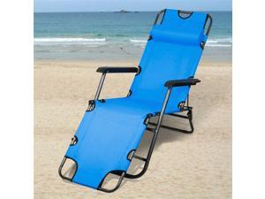 Yaheetech Patio Folding Recliner Lounge Chair Chaise (Blue)