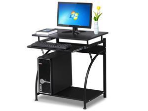 Yaheetech MDF Computer Desk Office Laptop Home Study PC Laptop Table Portable Workstation With Keyboard Desk Student Dorm Office Black