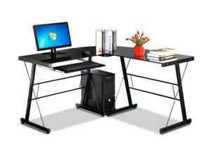 Yaheetech Modern L-Shaped 3-Piece Corner Computer Desk Laptop Workstation Home Office Study Student Table, Black