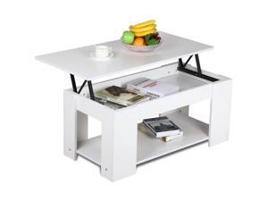 Yaheetech Lift Up Top Coffee Table with Storage & Shelf Modern Occasional Table White