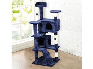 "Yaheetech 52"" Cat Scratching Post Tower Tree (Navy Blue)"