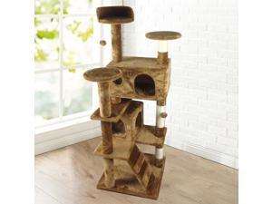 "Yaheetech 52"" Indoor Cat Tree/Tower Cat Scratching Post Activity Centre for Large/Slim Cats House with Bed,Brown"